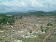 Photo of devastation from 2005 Joint Project between Intelsat, BCom and iDirect for the supply, installation and operation of 10 VSAT terminals for UNHCR refugee camps in Indonesia a few weeks after the Tsunami